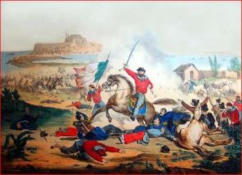 F. Vittosi drawing - lythograph A Vallardi - Lombardi Historical Collection - 20 July 1860. Garibaldi at the battle of Milazzo